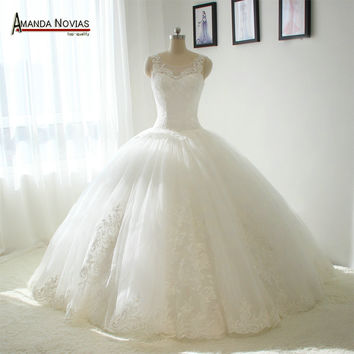Amanda Novias Big Ball Gown Puffy Wedding Dress Dropped Waistline not with veil