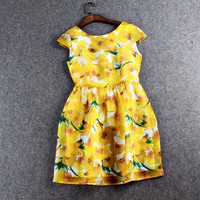 Yellow Floral Printed Pleated Mini Skater Dress