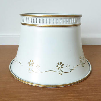 Small Federal style warm white tole metal lamp shade with gold trim and standard bulb clip