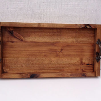 Rustic serving tray, breakfast in bed, wedding gift, alder wood serving tray.