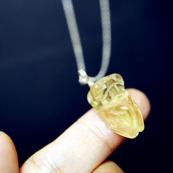 Tiny Genuine Citrine Necklace Gemstone Cicada Necklace - Sterling Silver Stone Animal Necklace Fortune Cicada Pendant, Tiny silver Necklace