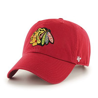 NHL Chicago Blackhawks '47 Brand Clean Up Adjustable Hat, Red, One Size
