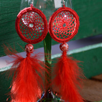 Dreamcatcher Earrings, Red Feather Earrings, Dangle Earrings