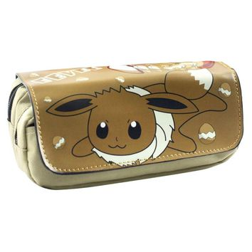 Free Shipping Pokemon Eevee Pencil Pen Case Game Poke Go Cosmetic Makeup Coin Pouch Double Zipper Bag
