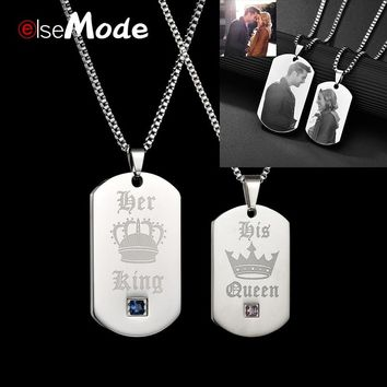 ELSEMODE  Customized Engrave Lover Name Necklace Her King His Queen CZ Stone Pendant 316L Stainless Steel Men Women Jewelry