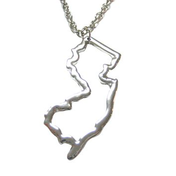New Jersey State Map Pendant Necklace