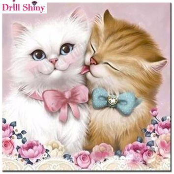 Diamond Painting Cat DIY 3D Diamond Embroidery Couple Kitten Mosaic Drawings Rose Lovers Animal Wedding Beading Embroidery Kits
