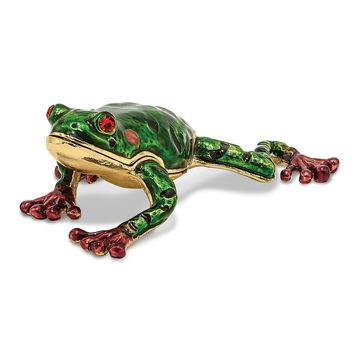 Bejeweled Green Pond Tree Frog Trinket Box
