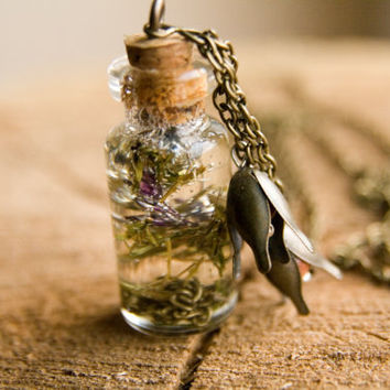 Handmade bottle necklace. Real flowers in bottle necklace. One-of-a-kind long chain necklace. Gift ideas for her