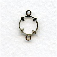 Open 8mm Stone Settings with 2 Loops Oxidized Brass (12) - VintageJewelrySupplies.com