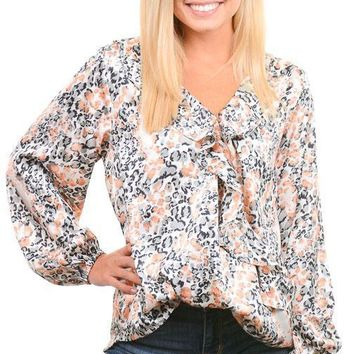 Gray Coral Animal Surplice Blouse