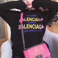 """Balenciaga"" Women Casual Fashion Multicolor Gradient Color Letter Logo Print  Long Sleeve Hooded Sweater Sweatshirt Tops"