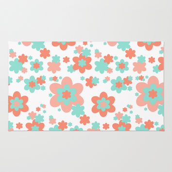 Coral and Mint Green Floral Rug by Decampstudios