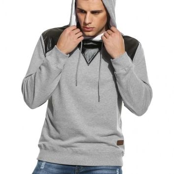 Gray New Men Casual Hooded Long Sleeve Pullover Synthetic Leather Patchwork Hoodies