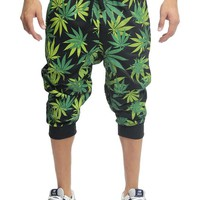 Magic Leaf Print French Terry Jogger Shorts JC391 - I5F