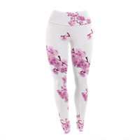 "Monika Strigel ""Cherry Sakura"" Pink Floral Yoga Leggings"