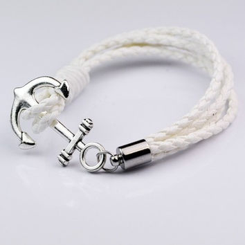 Stylish Gift Awesome Shiny New Arrival Great Deal Hot Sale Couple Ring Handcrafts Leather Men Cool Accessory Bracelet [6526722371]
