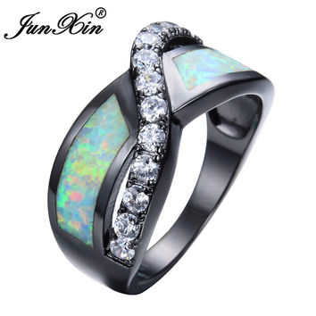 JUNXIN Female Male Rainbow Fire Opal Ring Black Gold Filled Wedding Party Engagement Best Friend Gift Ring Fashion Jewelry