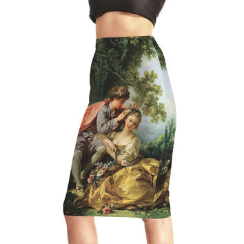New S To 4XL European And American Style Green Midi Skirt Mom Daughter Printing Fashion Women Pencil Skirt
