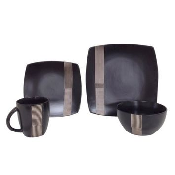 Threshold™ Ogai Stoneware 16 Piece Dinnerware Set - Black