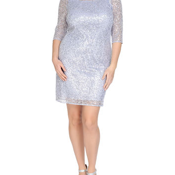3/4-Sleeve Sequined Sheath Cocktail Dress, Size: