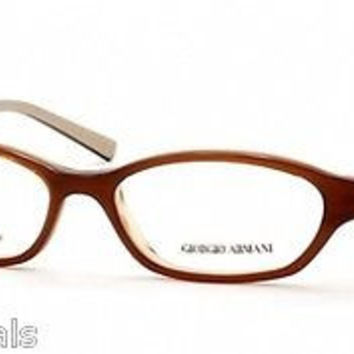 NEW AUTHENTIC GIORGIO ARMANI GA 384 COL 69P BROWN/BEIGE PLASTIC EYEGLASSES FRAME