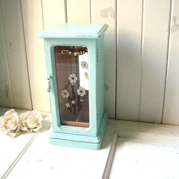 Aqua Mint Vintage Jewelry Box with Flowers, Shabby Chic Light Blue Distressed Wooden Jewelry Holder, Necklace Holder, Gift Ideas