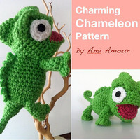 Charming Chameleon Pattern Amigurumi Crochet PDF by amiamour