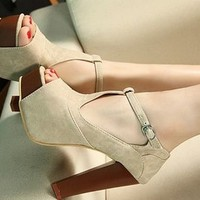 Peep Toe Buckle High Heel Sandals from Pop and Shop