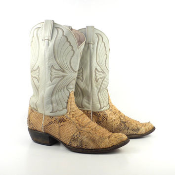 Snakeskin Cowboy Boots Vintage 1980s Men's Cream White  Leather Tony Lama Western size 10 1/2 D