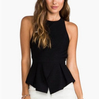 Black Halter Cut-Out Back Peplum Top