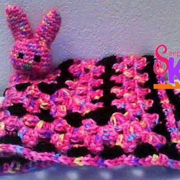 Bunny Lovey Blanket, Security Blanket, Crochet Blanket, Bunny Blanket, Baby Blanket, Toddler Blanket, Girl Lovey Blanket, Pink Lovey Blanket