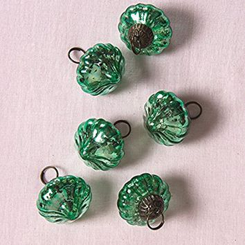 Luna Bazaar Mini Mercury Glass Ornaments (Lucy Design, 1-Inch, Vintage Green, Set of 6) - Vintage-Style Decorations