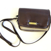 Vintage Small Cross Body flap Purse. Preppy Chocolate Brown and Taupe Shoulder Bag.