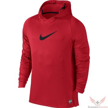 Nike Mens Dri-Fit Elite Basketball Pull Over Hooded Shirt- University Red- NWT