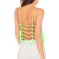 Neon Back Caged Crop Top in Neon Lime
