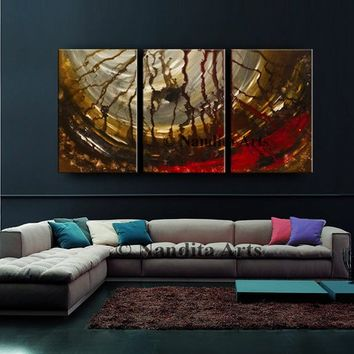 "Painting, Modern Painting on Canvas 72"" Red Brown Modern Large Wall Art, Contemporary Art, Handmade Living Room Decor by Nandita Albright"