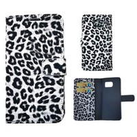 For Samsung Galaxy S6 Flip Wallet Stand Case Cover B&W Leopard Print - More Samsung