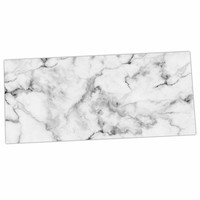 "Kess Original ""White Marble"" Gray White Desk Mat"