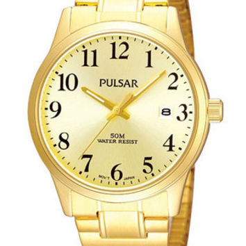 Pulsar Mens Gold-Tone Expansion Band Watch - Sizing-Clasp System - Date Window