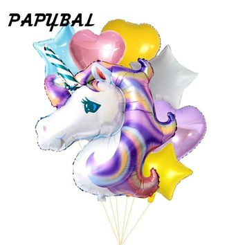 7pcs/lot Birthday Party Decorations kids Favors Foil Balloons 39inch Rainbow Unicorn Party Supplies Wedding Balloon Christmas