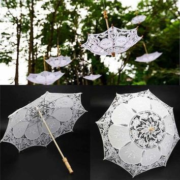 CREYN3C 23inch White Lace Embroidered Parasol Sun Umbrella Bridal Wedding Party Decorative Supplies