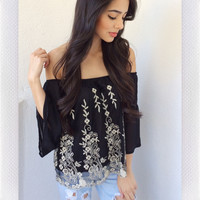 Flower Mist Top- Black