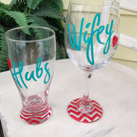 Personalized gifts, bride and groom, bridal shower gifts, hubs wifey, wine glasses, wedding gifts, mr and mrs glass, wedding wine glasses,