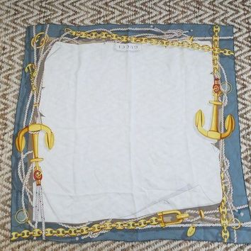 LMFMS6 GUCCI 100% silk 34' square blue anchor scarf