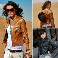 2014 Cool New Motorcycle Faux Leather Jacket Women Jackets Ladies Coat Outerwear SV007032