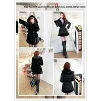 Clearance : winter black faux fur jacket two way coat GHL0005