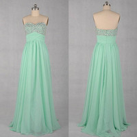 Sweetheart Sleeveless Floor-length Chiffon Prom Dresses With Paillette Beadings