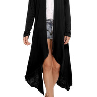 Plain Long-Sleeve Asymmetrical Maxi Cardigan