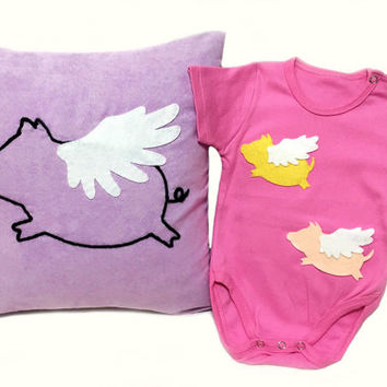 Flying Pig Baby Girls Gift. Hand Embroidery Flying Pig Nursery Pillow Cover. Fuchsia Onesuit Bodysuit. Cute Baby Shower Gift Set